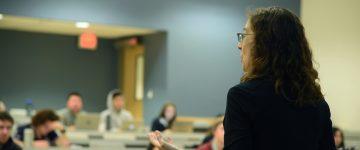 Christina Hendricks teaching in the class