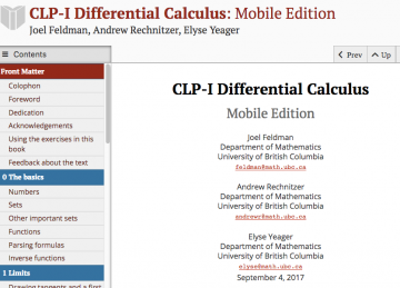 CLP Open Textbooks for Calculus