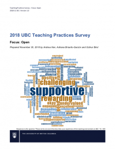 2018 UBC Teaching Practices Survey: Open Focus Report