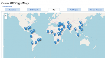 Screenshot of a map of student projects for GEOG352