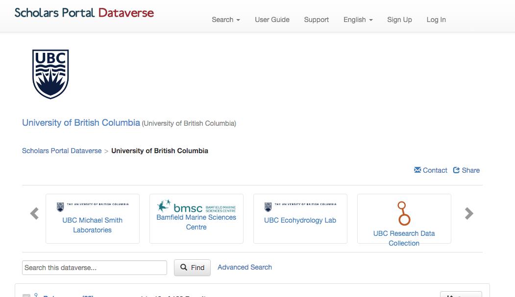 screenshot of dataverse