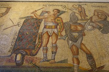 Gladiators, fragment, Roman, 300-400 AD, marble and limestone mosaic - Galleria Borghese - Rome, Italy